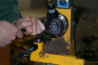 Paul working on an african blackwood box