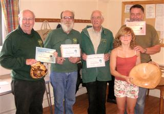 Steve Tredwell, Pat Hughes, Bernard Slingsby and Fred Taylor receives certificates