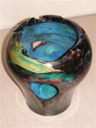 Coloured vase by Pat Hughes