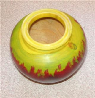 Coloured pot by Pat Hughes