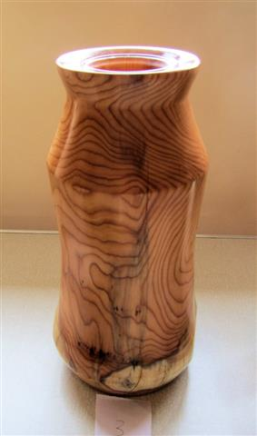 Yew vase with glass insert by Bert Lanham