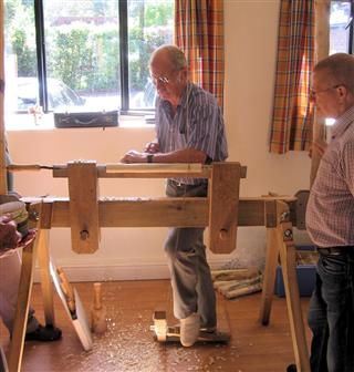 Howard tries out the pole lathe