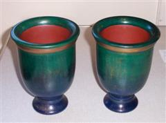 Matching pair of vases by Pat Hughes