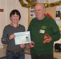 The monthly Highly commended Pat Hughes received his certificate from Carlyn Lindsay