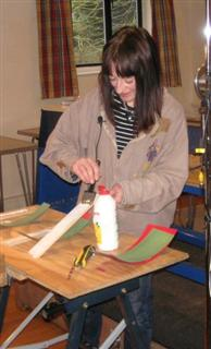 Carlyn applying PVA to her laminations