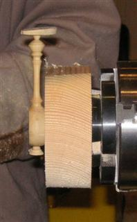 Spoon mounted in glue chuck prior to hollowing
