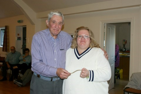 MS Representative Becky Wilson presented with a cheque for �0 by our chairman Bert Lanham