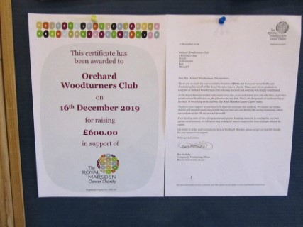 Certificate received from the Royal Marsden cancer charity