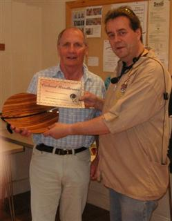 The monthly winner Howard Overton received his certificate from Gary Rance