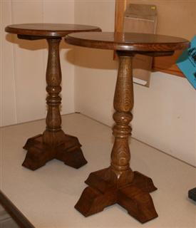 Pair of tables by Pat Hughes
