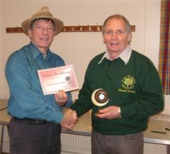 The monthly winner Howard Overton received his certificate from Stuart King