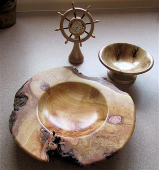 Three pieces by Bill Burden. The big bowl won turning of the month certificate