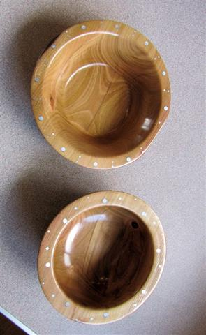 Two bowls with decorated rims by Keith Leonard
