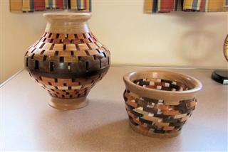 Two segmented vases by Bernard Slingsby