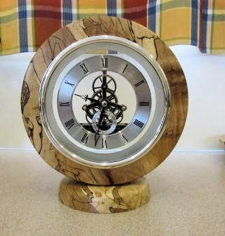 John Spencer won joint turning of the month with this clock