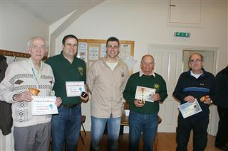 The winners Howard Overton Dave Reed Bernard Slingsby and Paul Hunt presented by Richard Findley