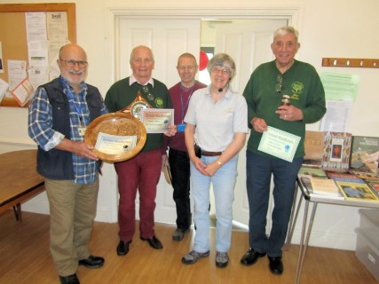 Winners of the May competition certificates with Margaret Garrard