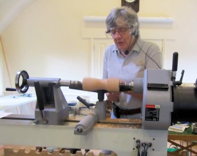 Margaret Garrard starting the first project of the day involuted turning
