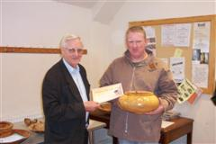 The monthly winner Tony Handford received his certificate from Dave Reeks
