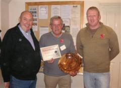 The monthly winner Bill Burden received his certificate from Peter Blake & Tony Handford