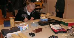 Bill Bassant using Bert's pyrography kit