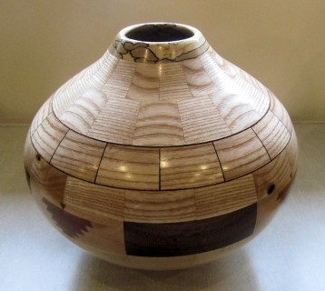 This segmented vase won Chris Withall the turning of the month certificate