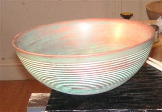 The finished bowl textured and coloured