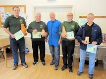 Mark Baker with the winners of the September certificates