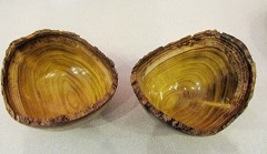 Two natural edged mulberry bowls by Keith Leonard