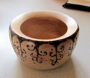 Pyrographed bowl by Patricia Norton