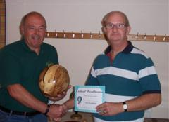 Dave Matson receiving the runner up certificate from John Johnson