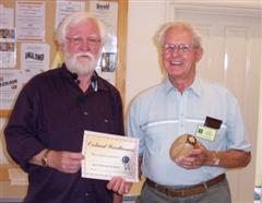 The monthly winner Frank Hayward received his certificate from Melvyn Firmager