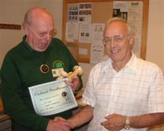 The monthly Highly commended Pat Hughes received his certificate from Tom Pockley