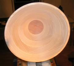 Inside view of bowl's finished shape