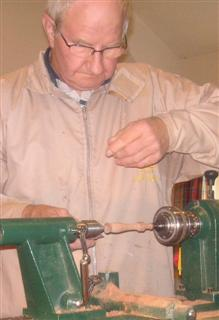 Turning the earing stand spindle