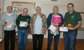 Paul presenting the winning certificates to Dave Reed Howard Overton Paul Hunt and Nick Adamek