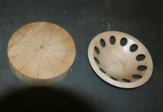 The marked out blank and the finished bowl